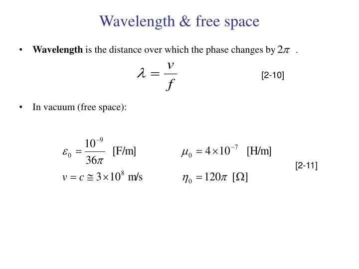 guide wavelength and free space wavelength