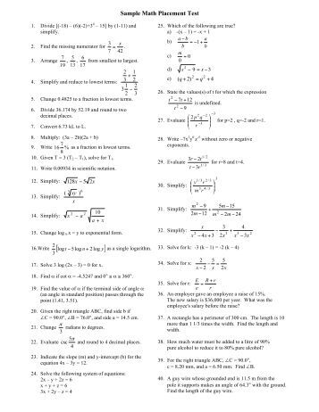 college math placement test study guide