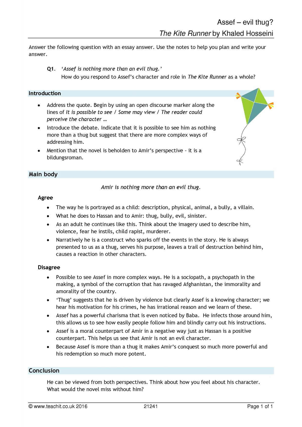 kite runner study guide questions and answers