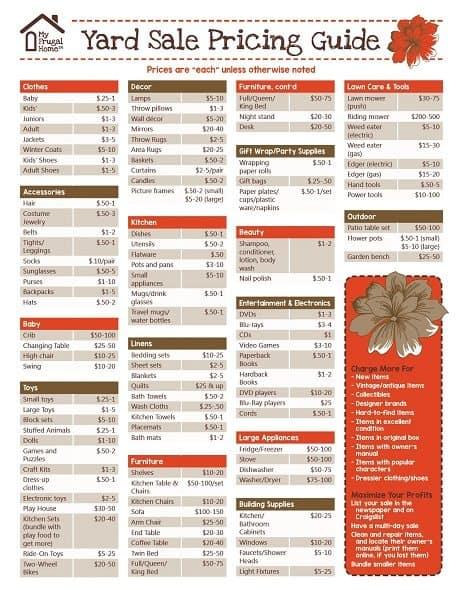 garage sale pricing guide 2015