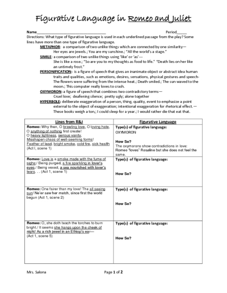 romeo and juliet study guide worksheet